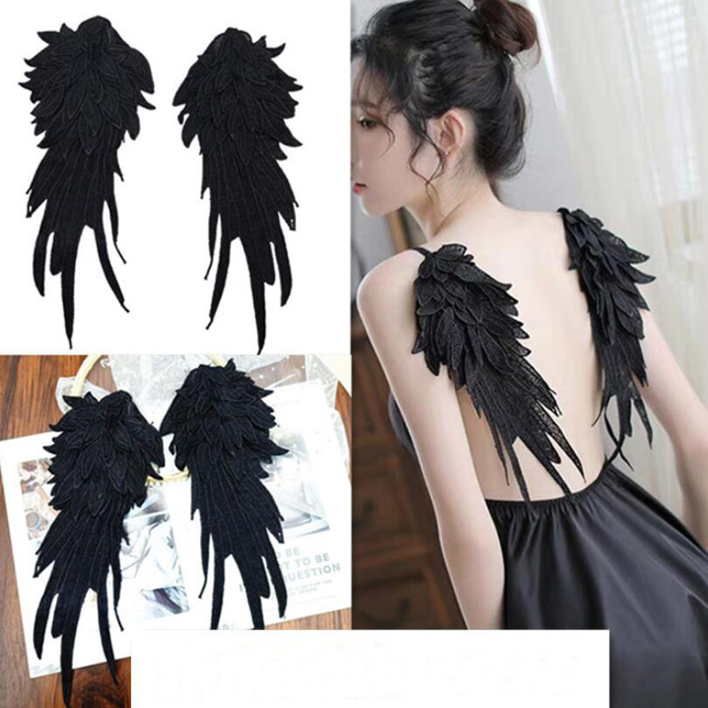 Black White Little Fairy Angel Wings Embroidery Patches Wing Stage Performance Props For Halloween Cosplay Costumes Accessories