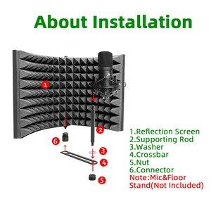 Image 4 - MAONO stüdyo mikrofonu İzolasyon kalkanı katlanabilir yüksek yoğunluklu emici köpük ön Panel ses emici vokal kayıt