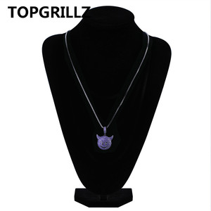 Image 5 - TOPGRILLZ Personality  Iced Out Cubic Zircon Plated Demon Dog Monkey Heart Smile Pendant &Necklace Hip Hop Jewelry For Gifts