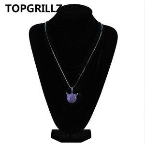 Image 5 - TOPGRILLZ pendentif de personnalité glacé Zircon cubique, plaqué démon, chien, singe, cœur, sourire, collier Hip Hop, bijoux pour cadeaux