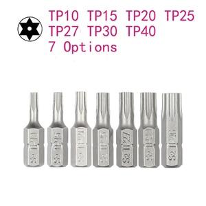 10pcs/lot 25mm Torx Screwdriver Bits With Hole T10 T15 T20 T25 T27 T30 T40 1/4 Inch Hex Shank Electric Screw Driver Star Bit Set(China)