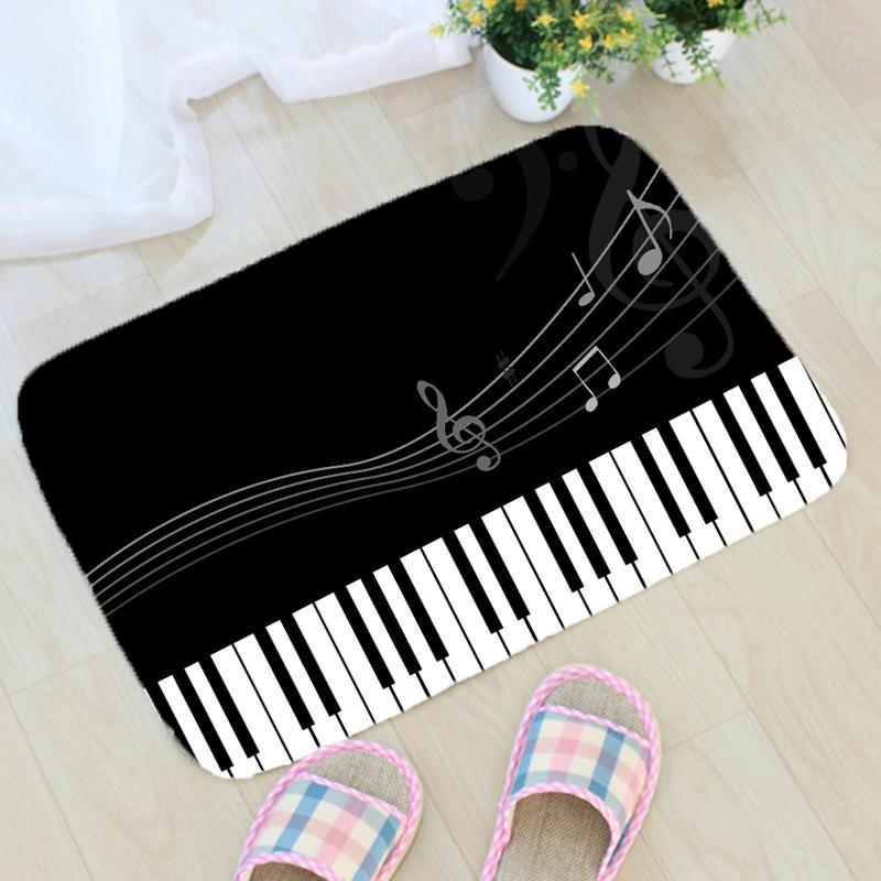 Music Notes Printing Carpet Flannel Musical Note Piano Pattern Floor Mat Carpet Bathroom Non-slip Mat Home Decoration Doormat