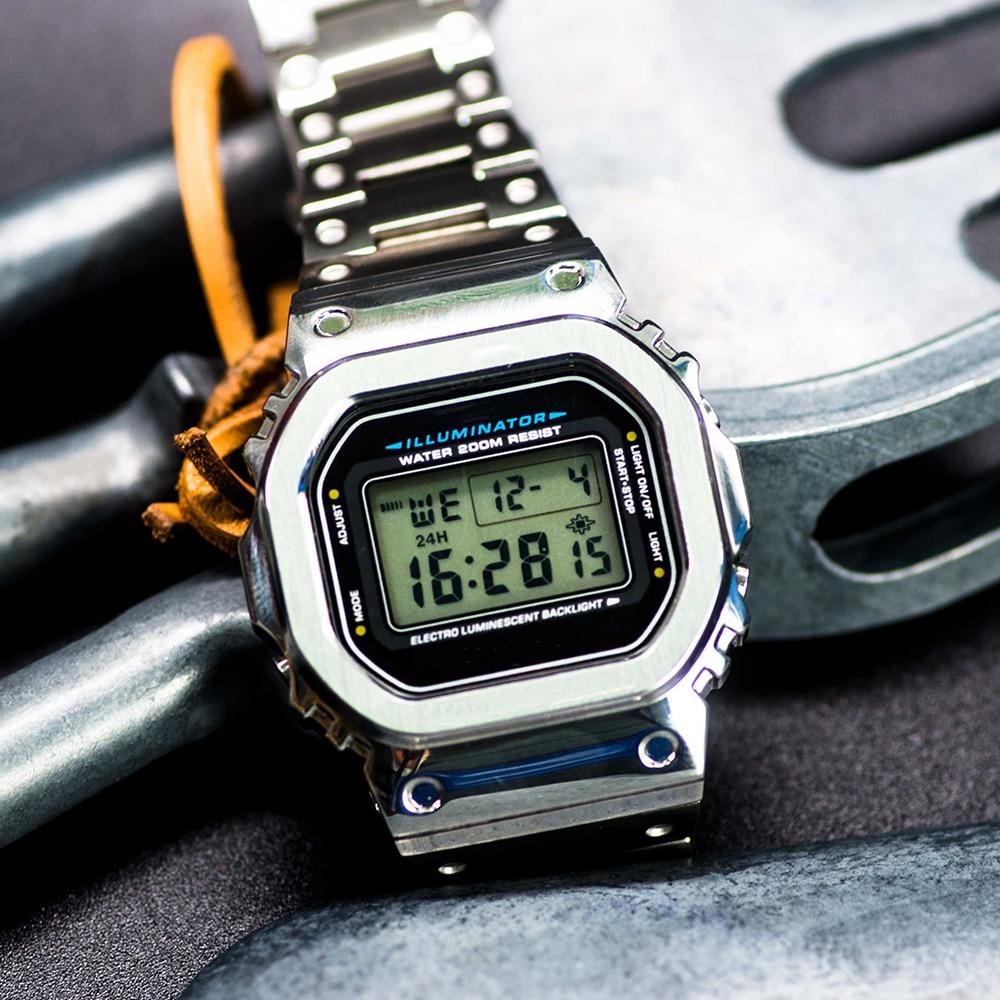 DW5600 5610 Watch Set Watchband Bezel Upgrade Modification Metal 316L Stainless Watch Accessories