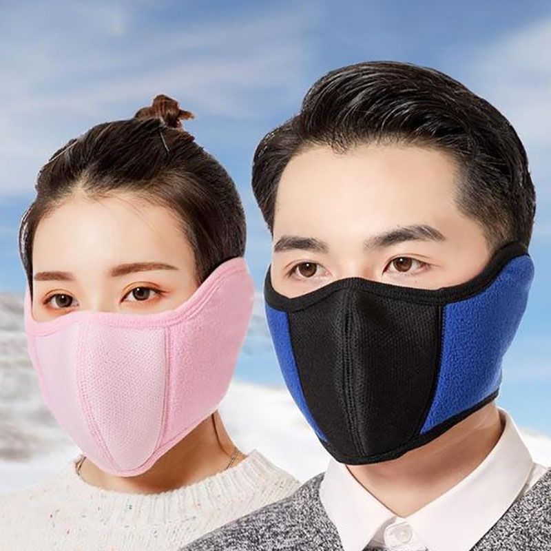 Anti-Dust Cycling Masks Winter Warm Men Women Outdoor Running Bike Bicycle Riding Running Half Face Mask Earmuffs 2-in-1 Y