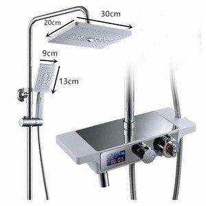 Image 2 - Thermostatic white shower set rainfall bathroo shower  luxury bathtub shower mixer set  white Bath Shower hot cold Faucet set