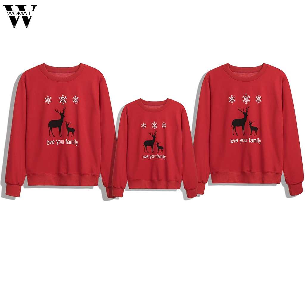 2019 Family Matching Sweatshirt Parent-child Red Mother And Daughter Christmas Casual Mom Dad Kids Long Sleeve Pullover Tops 28