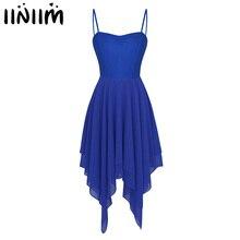 Iiniim 여성 성인 비대칭 댄스웨어 발레 댄스 복장 시폰 서정적 인 체조 레오타드 의상 현대 무용 복장