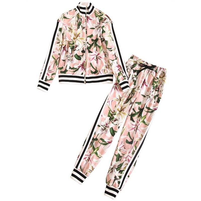 Goodlishowsi 2019 핑크 캐주얼 세련된 2 pcs 세트 백합 인쇄 여성 체육관 복장 지퍼 자켓 탑 + 레깅스 펜슬 바지 twinset-에서여성 세트부터 여성 의류 의  그룹 1