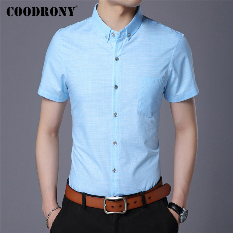 COODRONY Short Sleeve Shirt Men Clothing Spring Summer Mens Shirts Slim Fit Business Casual Camisa Masculina With Pocket C6001S