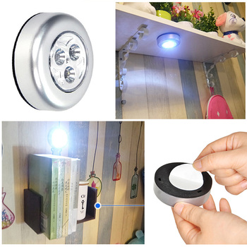 New Battery Powered Wall Lamp Self-adhesive Cordless Stick Tap Wardrobe Bedroom Light Lamp Car Ceiling Night Light image