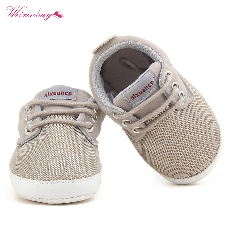 Newborn Baby Boy Shoes First Walkers Spring Autumn Baby Boy Soft Sole Shoes Infant Canvas Crib Shoes 0-18 M