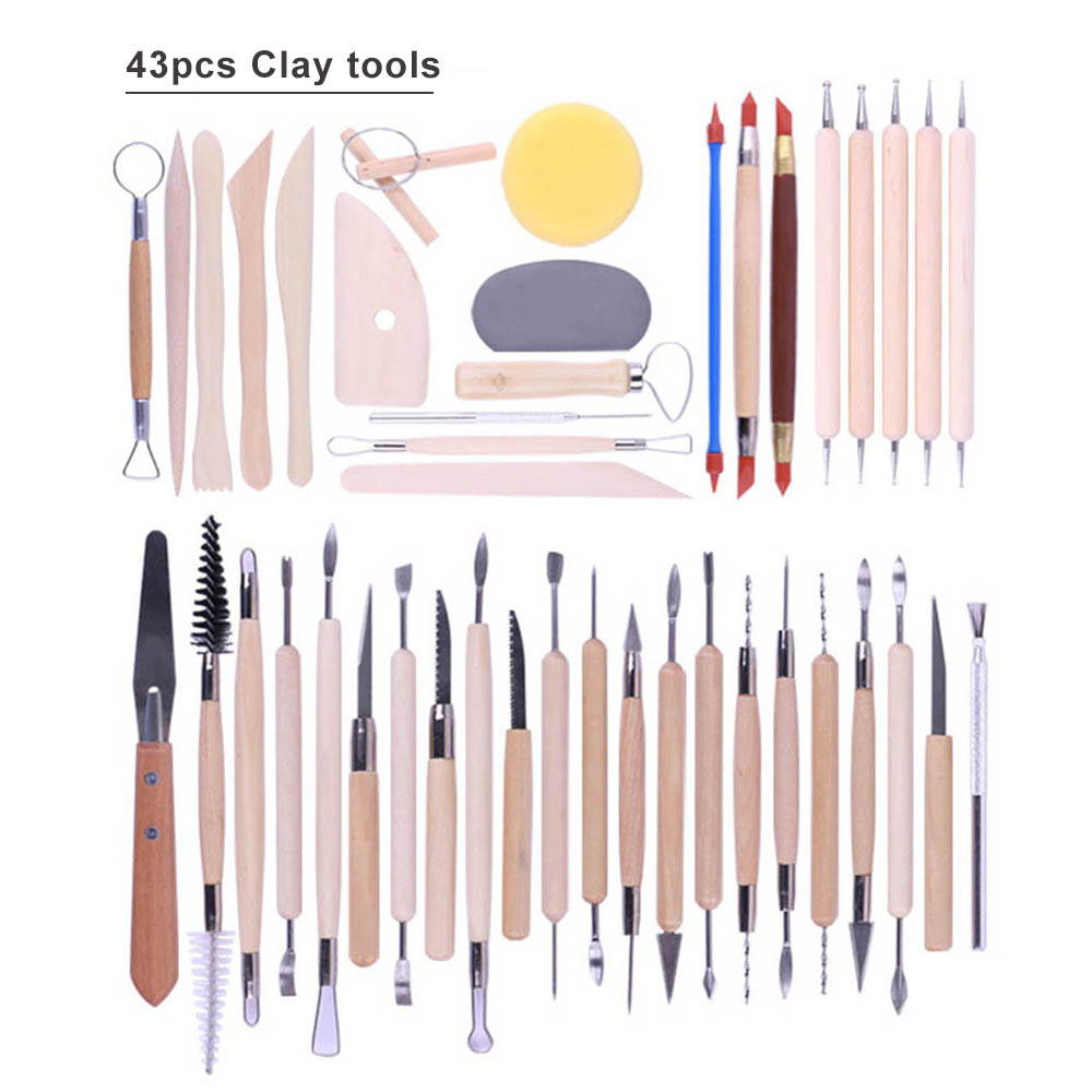 43pcs Tools For Ceramics Clay Sculpture Tools For Polymer Tool Craft Sculpting Pottery Modeling Carved Smoothing Wax Kit-1