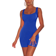 Plus Size Open Back One Piece Skinny Bodysuit Women Summer Sleeveless Round Neck