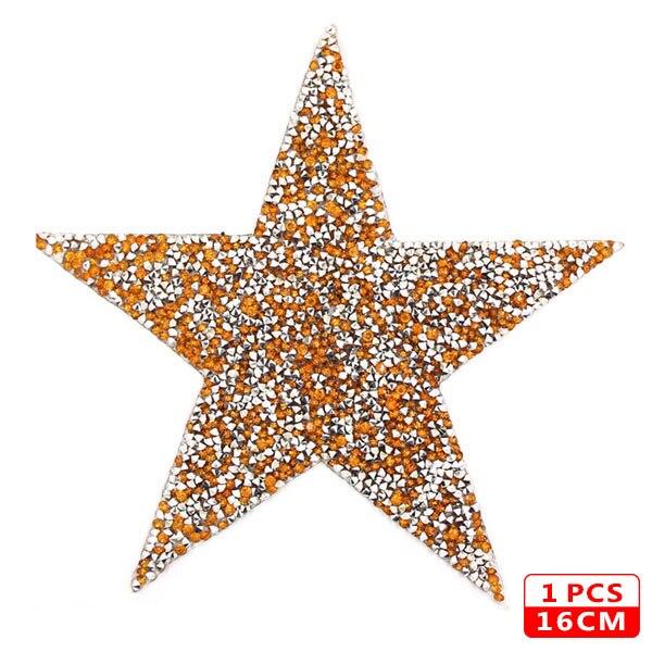 Стразы со звездами, смешанные размеры, нашивки, нашивки с вышивкой, термо-Стикеры для одежды, 5 видов цветов, блестки, нашивки для одежды, сделай сам - Цвет: 16cm Yellow 1pcs