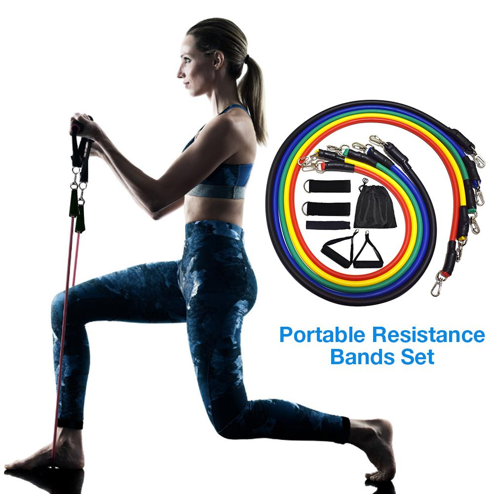 11PCS Resistance Bands Exercise Pull Bands Gym Fitness Pilates Workout Stretch