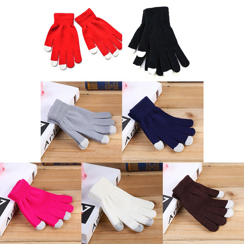 Unisex <font><b>Winter</b></font> Warme Kapazitiven Stricken Handschuhe Hand Wärmer Für Touch Screen Smart Telefon image