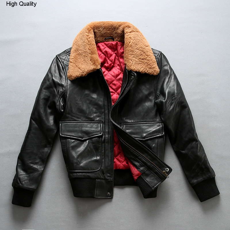 Fly Air Force Flight Jacket Fur Collar Genuine Leather Jacket Woman Winter Sheepskin Coat Pilot Bomber Jacket