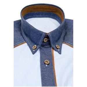 Image 4 - Zogaa 2019 verão camisa masculina casual retalhos lapela camisa masculina manga curta botão fino ajuste blusa respirável vestido de escritório camisas