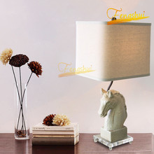 American LED Table Lamp Lighting Retro Art Horse Head Table Decor Lights Study Bedside Bedroom Hotel Living Room Lights Fixtures chinese led ceramic table lamp indoor decor table light lighting loft bedside bedroom living room hotel villa desk lamp luster