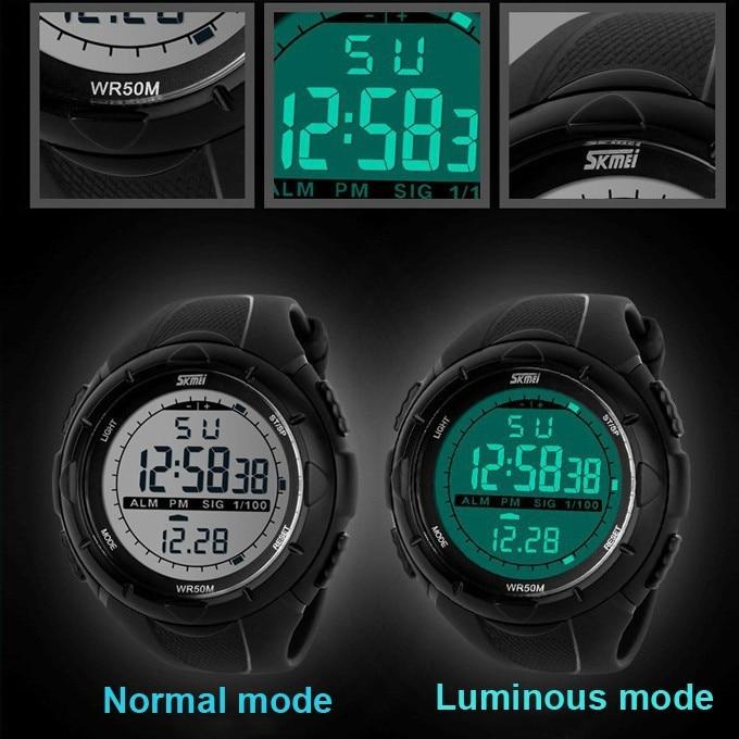 18 New Skmei Brand Men LED Digital Military Watch, 50M Dive Swim Dress Sports Watches Fashion Outdoor Wristwatches 16