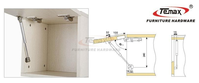2x 100N Hydraulic Gas Strut Lift Support Kitchen Cabinet Support ...