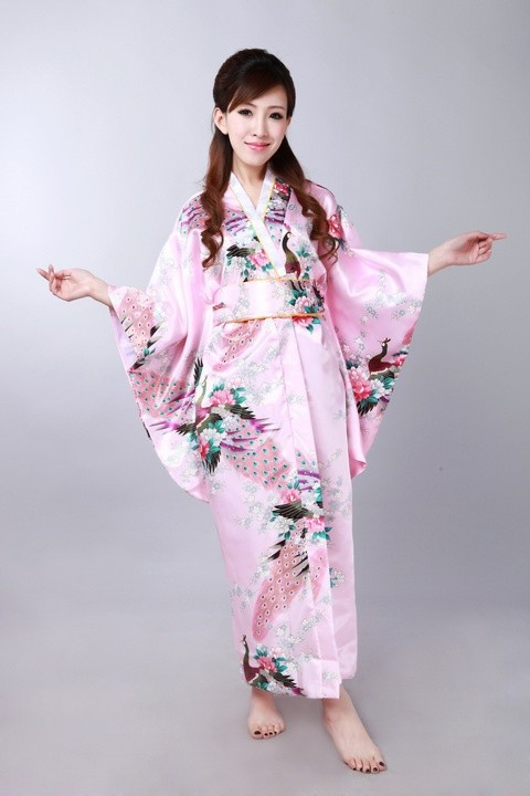 ✅Azul nueva primavera seda japonesa del Vintage de satén kimono ...