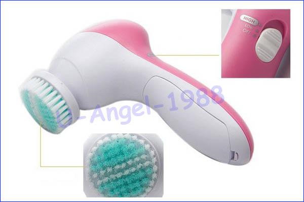 Wholesale 1pcs 5 in 1 Electric Wash Face Machine Facial Pore Cleaner Body Cleaning Massage Mini Skin Beauty Massager Brush 3