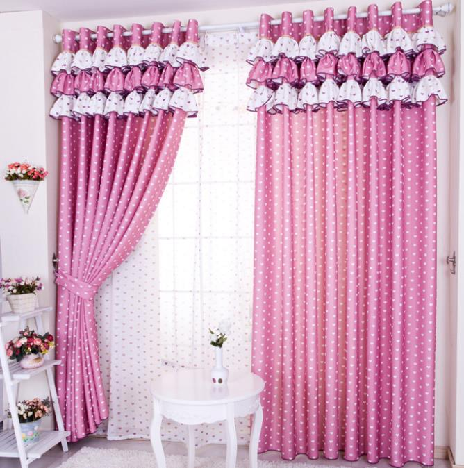 free shipping home design love fabric curtain finished product dodechedron window curtain blind luxury curtain - Pink Home 2015