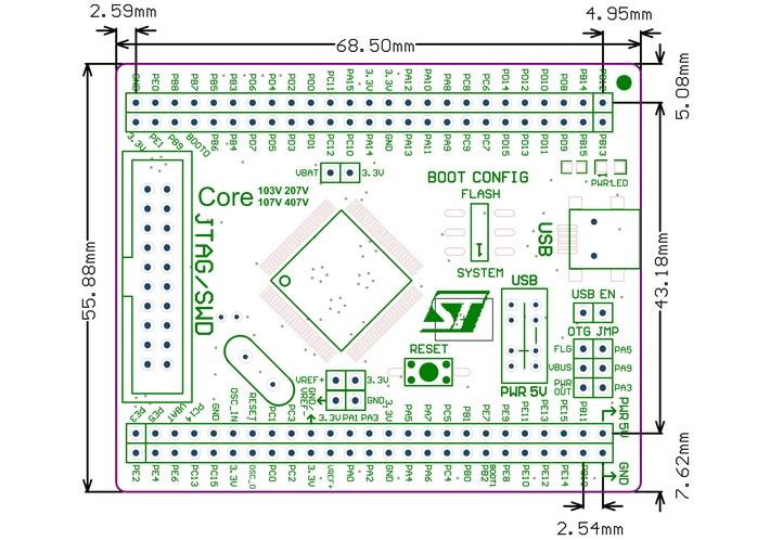 Waveshare плата STM32 Core103V STM32F103VET6 STM32F103 ARM Cortex-M3 STM32 Базовая плата развития с полным расширителем IO