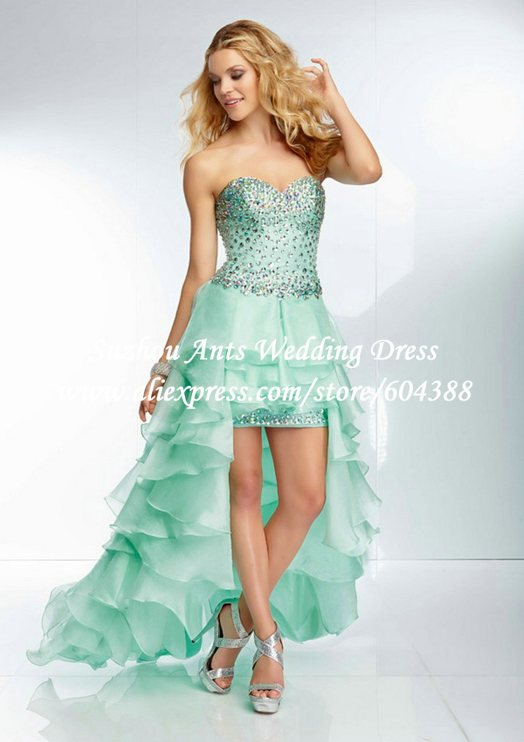 Fashion Sweetheart Beaded Mint Green Prom Dress 2015 High Low Short ...