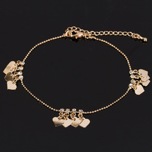 Stylish 1Piece Beach Gold Color Anklet Heart Pendant Anklet Easy To Hook Jewelry Gift For Women Female