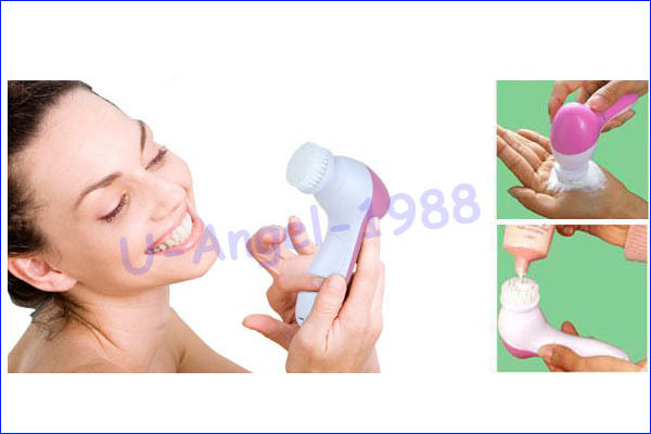 Wholesale 1pcs 5 in 1 Electric Wash Face Machine Facial Pore Cleaner Body Cleaning Massage Mini Skin Beauty Massager Brush 6