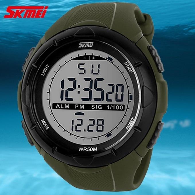 18 New Skmei Brand Men LED Digital Military Watch, 50M Dive Swim Dress Sports Watches Fashion Outdoor Wristwatches 11