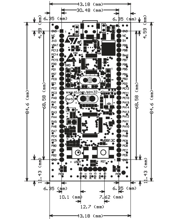 STM32VLDISCOVERY board dimensions