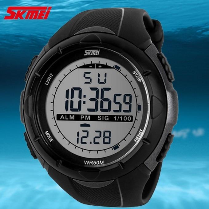 18 New Skmei Brand Men LED Digital Military Watch, 50M Dive Swim Dress Sports Watches Fashion Outdoor Wristwatches 12