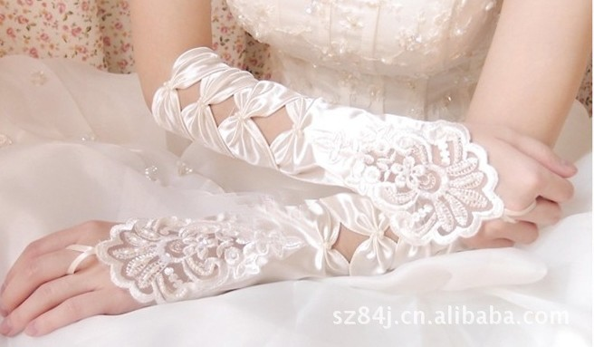 новый горячая распродажа мода белые цветы свадебные перчатки без пальцев атлас свадьба ну watering выпускного вечера перчатки бесплатная доставка
