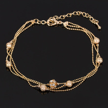 Hot 1Piece Women Boho Gold Tone Charm Multilayer Six Beads Connect Rhinestone Ankle Bracelet