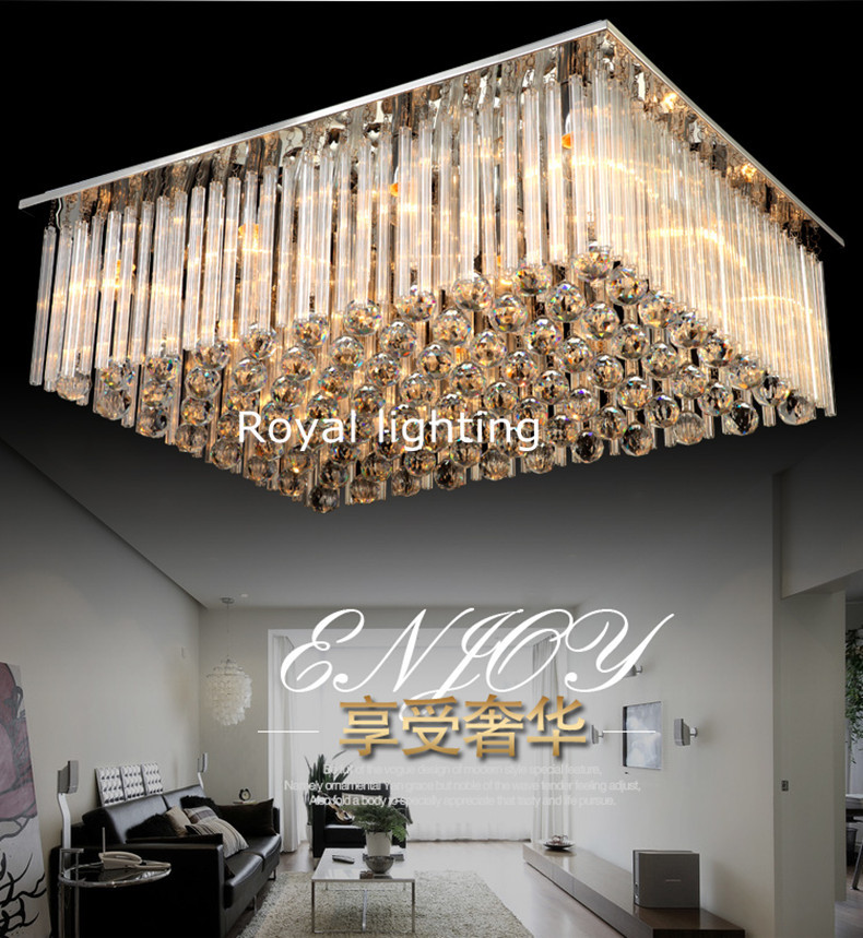 Hotel hall large rectangle crystal ceiling lamp led lustres de hotel hall large rectangle crystal ceiling lamp led lustres de cristal hanging light living room surface led ceiling lighting in ceiling lights from lights aloadofball Gallery