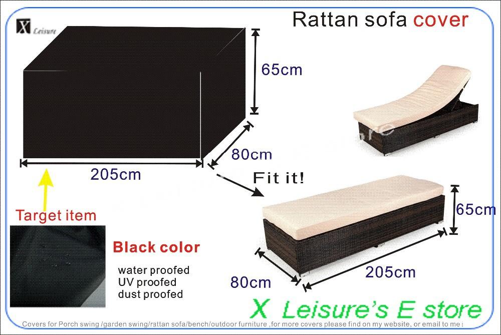 Garden Rattan Bed Cover 205x80x65 Cm