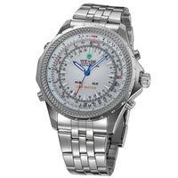 красный из светодиодов двухъядерный цифровой аналогии дайвинг хронограф белый циферблат мужские спорт до запястья часы хороший подарок a355