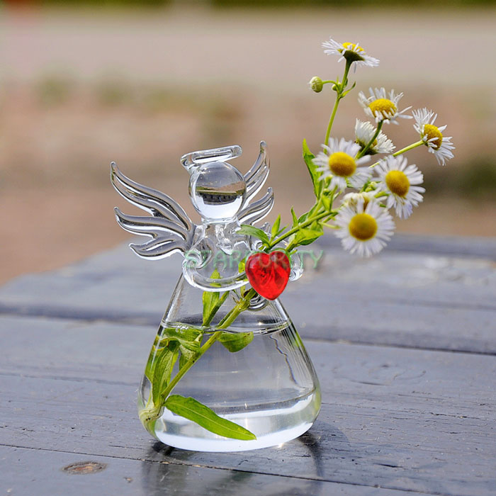 Clear Glass Angel Wing Red Heart Flower Plant Vase Hydroponic