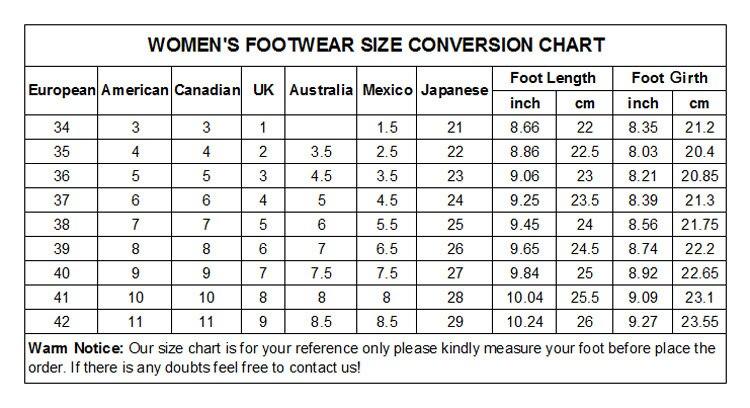 WOMEN'S FOOTWEAR SIZE CONVERSION CHART