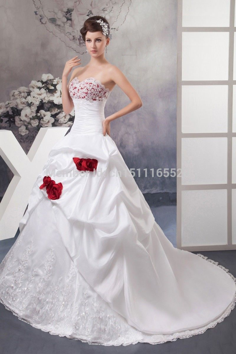 New Gorgeous White Ivory A Line Sweetheart Satin Red Rose Applique