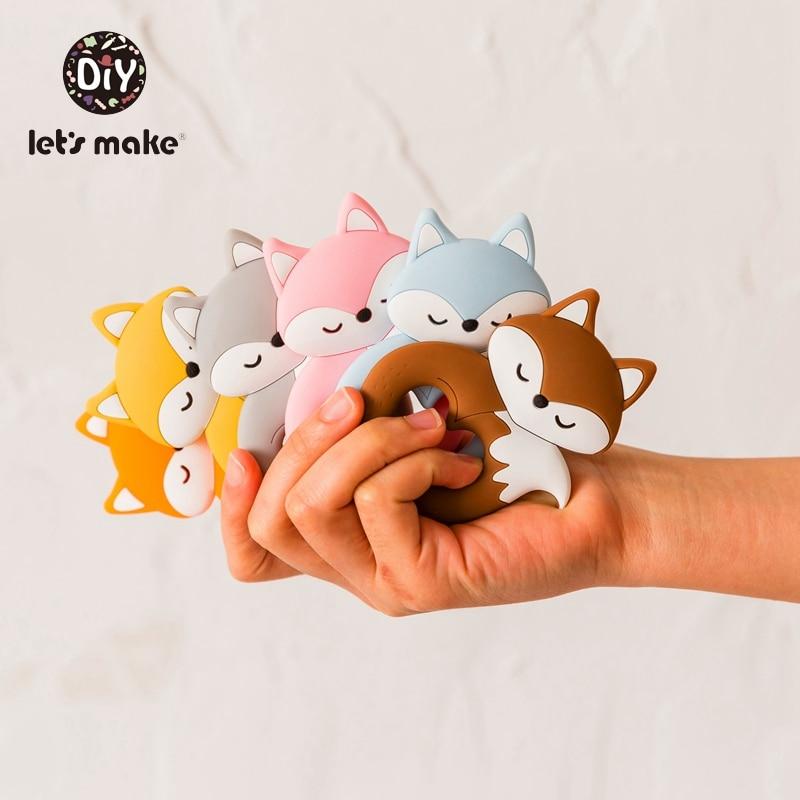 Presale Baby Teether Food Grade Silicone Teethers Cartoon Animals Fox DIY Nursing Teething Pacifier Clips Baby Toys Teething