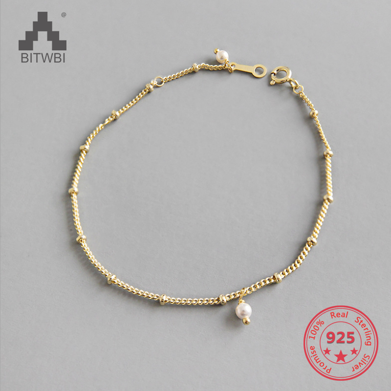 Gold Color Inter-bead Chain Genuine 100% 925 Sterling Silver Chain Link Women Bracelet Bracelet Japan Jewelry Girl's