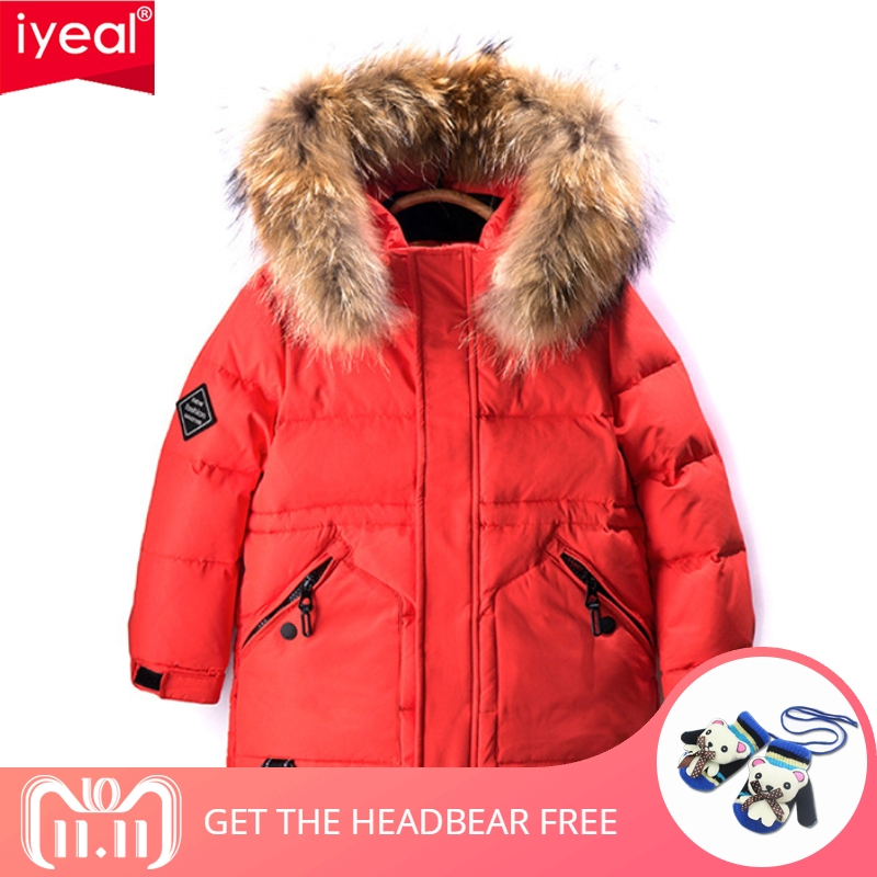 IYEAL Winter White Duck Down Jacket for Boys Fashion Casual Hooded Thick Warm Long Coat Children Real Large Fur Collar Outerwear стоимость