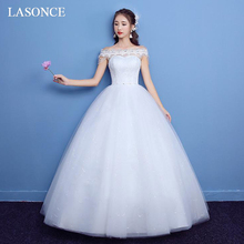 LASONCE Illusion Crystal Boat Neck Lace Ball Gown Wedding Dresses Off The Shoulder Beading Backless Bridal Dress