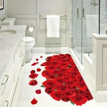 AsyPets съемные романтические 3D розы Шаблон Стикер для ванной комнаты гостиной стены пол Декор