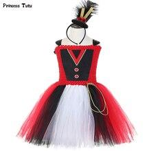 Circo ringmaster meninas tutu vestido carnaval festa de aniversário vestido maior showman anel mestre meninas traje de halloween crianças vestido