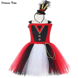 Image 1 - Circus Ringmaster Girls Tutu Dress Carnival Birthday Party Dress Greatest Showman Ring Master Girls Halloween Costume Kids Dress
